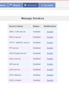 Manage Service in OpenFiler
