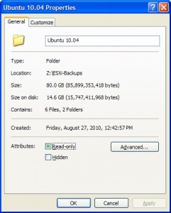 Compressed folder with two backups