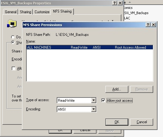Mike Trello's Blog » Setting up an NFS share to receive ESXi 4 1 VM
