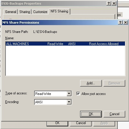 Setting up an NFS share to receive ESXi 4 1 VM Backups