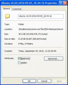 Compressed folder after backup