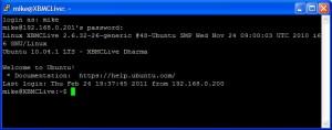 PuTTY XBMC initial screen