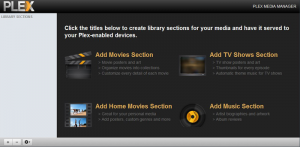 Plex Media Server welcome screen